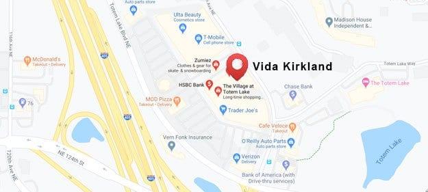 Map to Vida Kirkland New Location